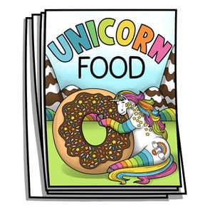 Unicorn Food Coloring Pages