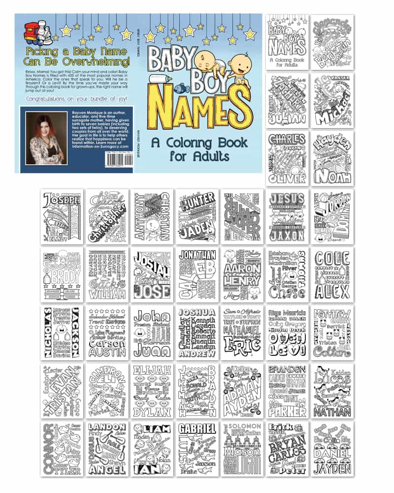 Baby Boy Names Coloring Book