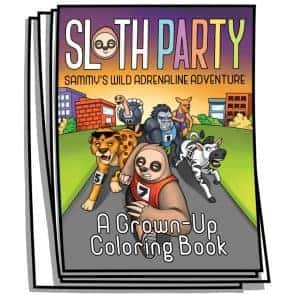 Sloth Party Coloring Pages
